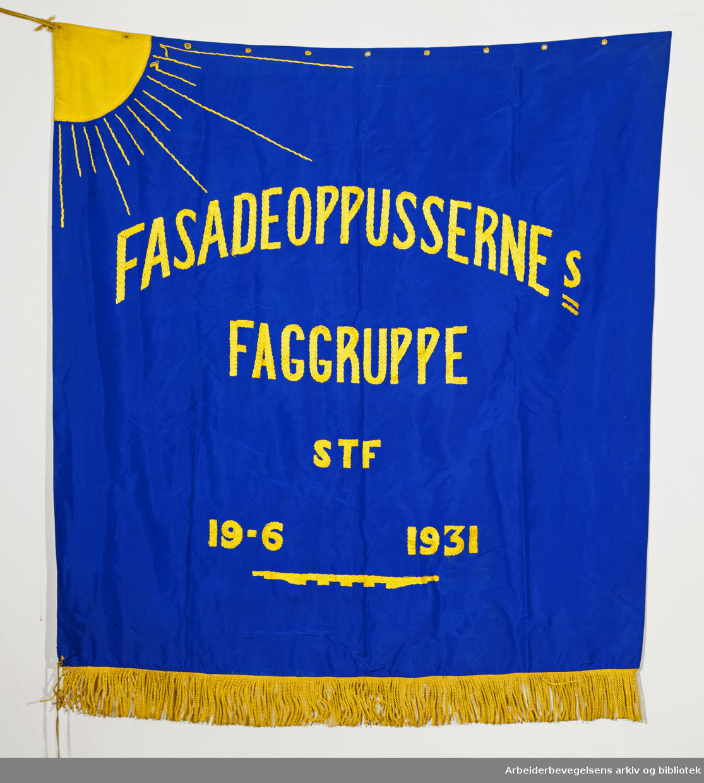 Fasadeoppussernes Faggruppe..Forside..Fanetekst: Fasadeoppussernes Faggruppe STF.19. 6. 1931