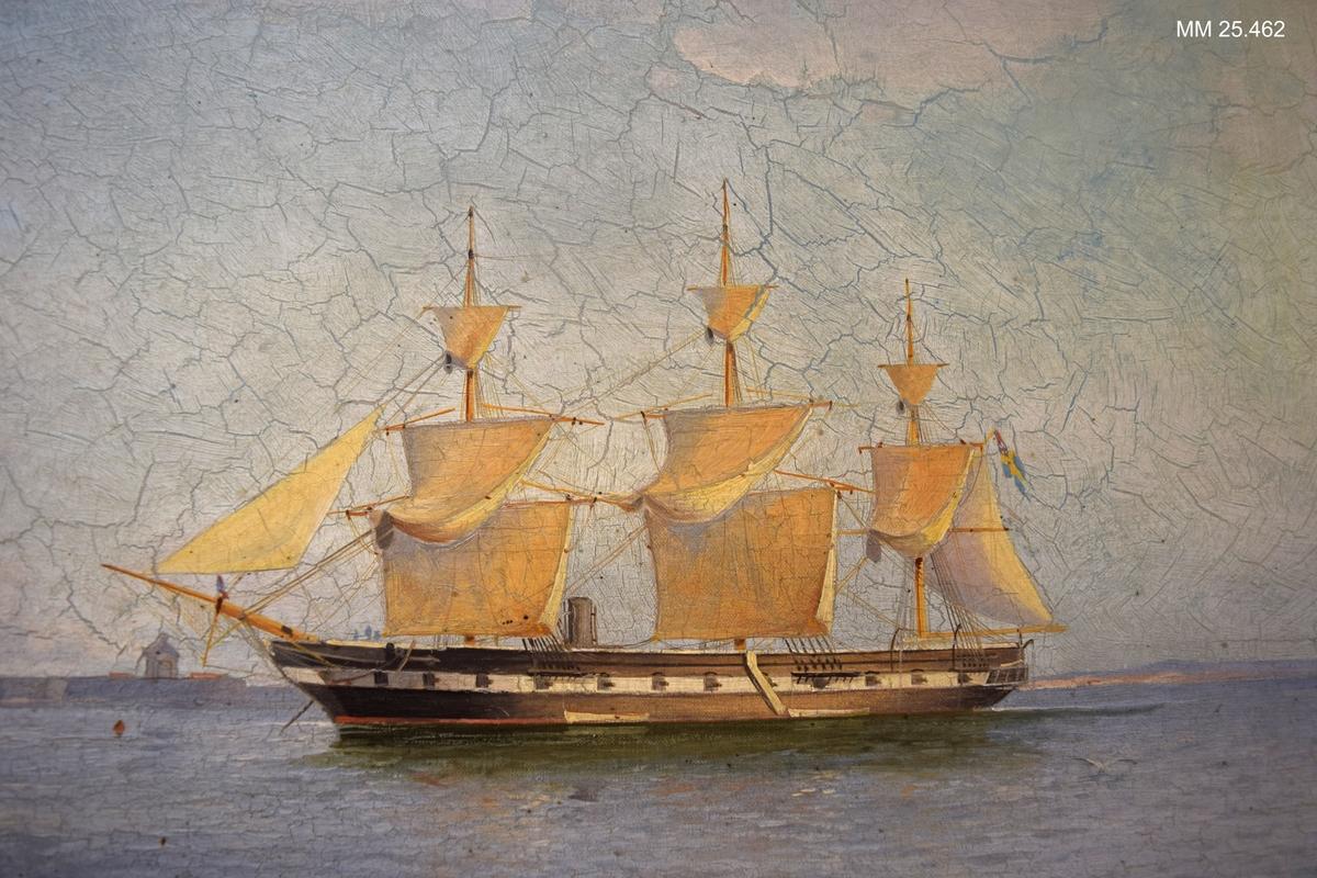 Ångfregatten Vanadis till ankars i Göta Älv vid Nya Älvsborgs fästning.