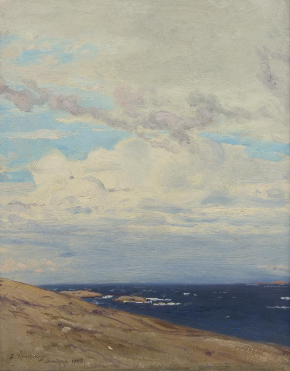 Skärgårdslandskap med låg horisontlinje med kust, hav och molnrik himmel.