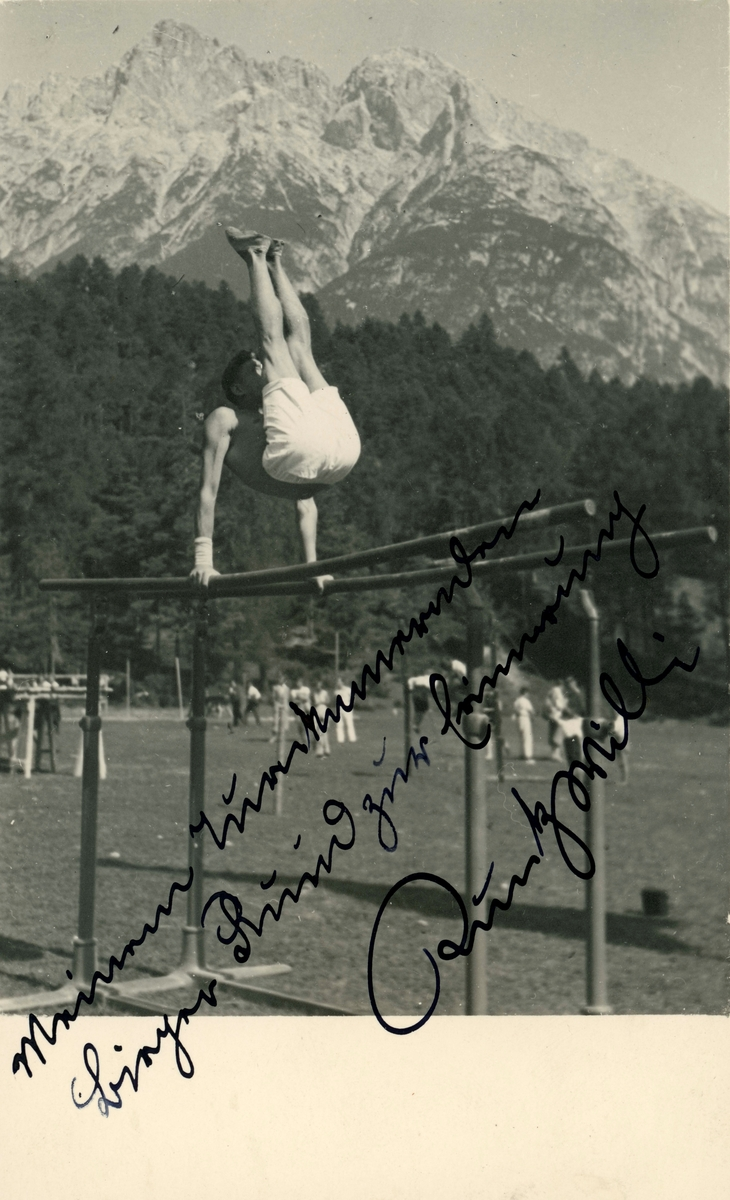 Athlete Birger Ruud doing gymnastics