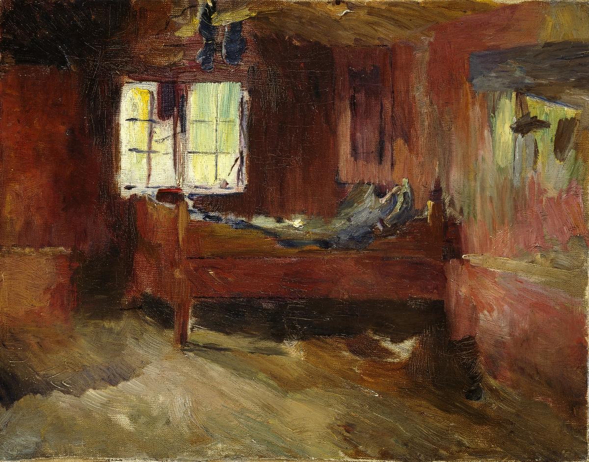 Interiør fra bondestue, Strålsjøhaugen [Maleri]