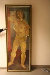 Herren kommer fra badstuen. Selvportrett [Maleri]