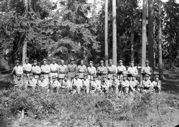 Gruppfoto med befäl.  I 11, Växjö