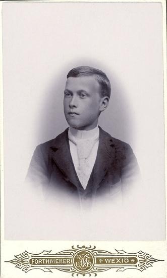 33e8a01d3f93 Porträtt (bröstbild, halvprofil) av en okänd ung man i mörk, randig kavaj