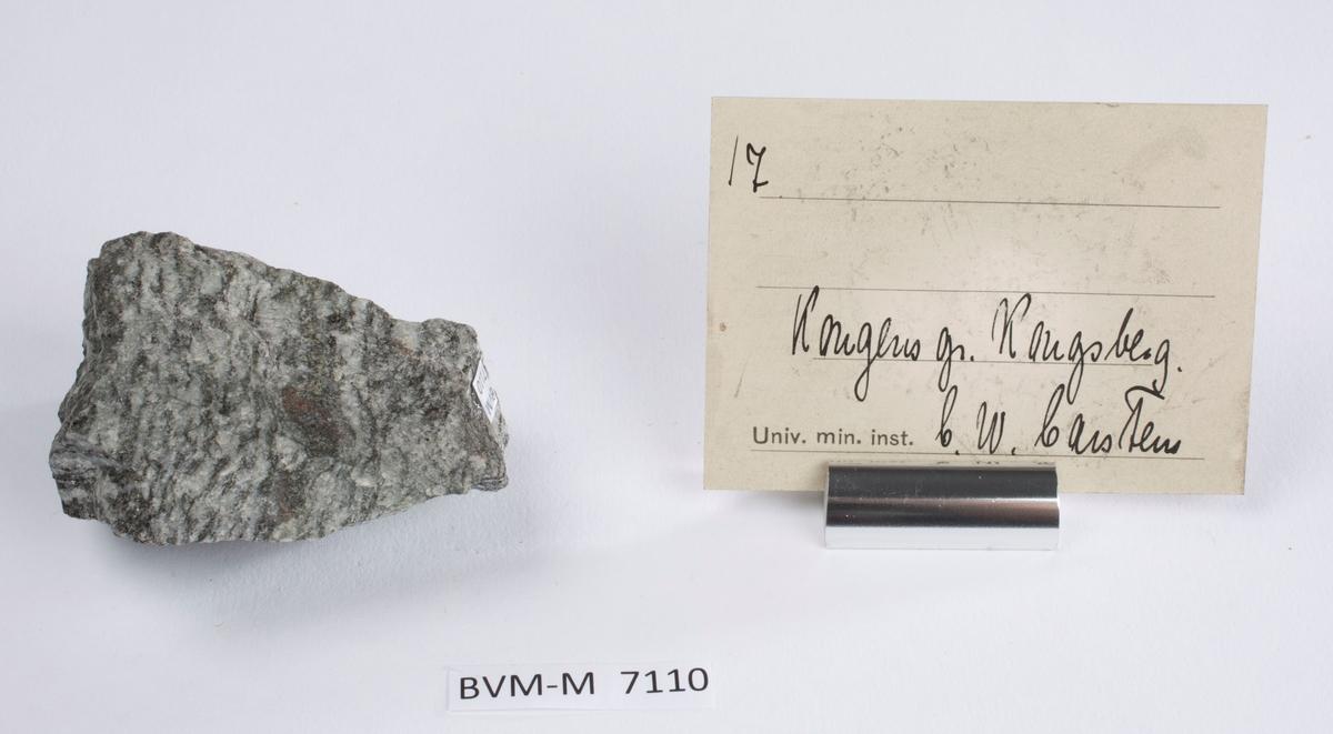 Etikett i eske: 17.  Kongens gr. Kongsberg C.W. Carstens