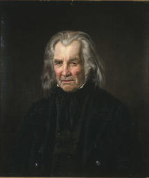 Portrett av Ole Rasmussen Apenes. Mørk drakt, brunsvart vest. (Foto/Photo)