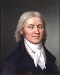 Portrett av Carl Adolph Dahl. Mørk drakt, hvit skjorte og halsbind, småmønstret hvit vest. (Foto/Photo)