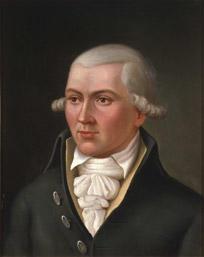 Portrett av Hans C U Midelfart. Grått hår (parykk), mørk kjol (jakke), gul vest, hvit skjorte og halstørkle.