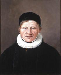 Portrett av Nicolai (Niels) Nielsen. Prestakjole og pipekrave, svart hodeplagg (kalott). (Foto/Photo)