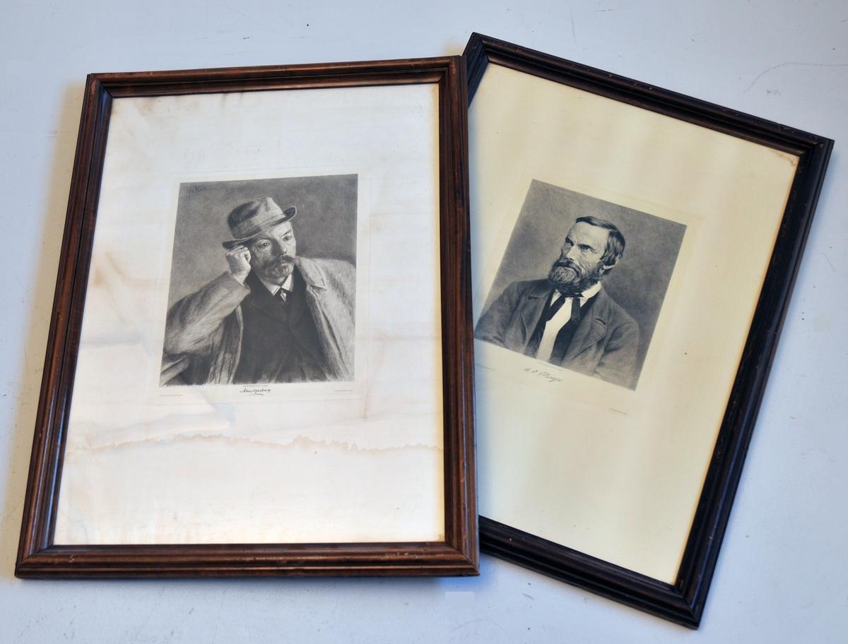 2 portrett i glas og råme