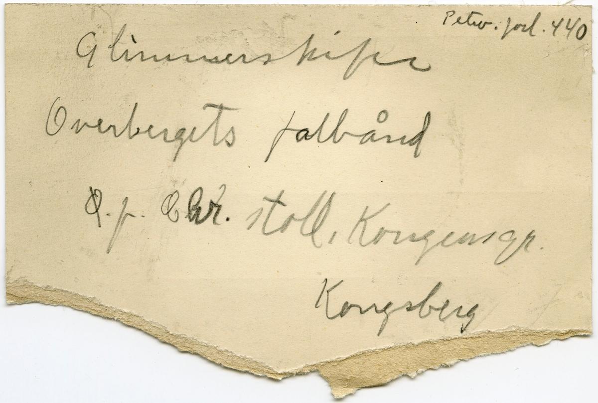 Etikett i eske: Petro. forl. 440 Glimmerskifer Overbergets fahlbånd Ø. f. Chr. stoll, Kongensgr. Kongsberg