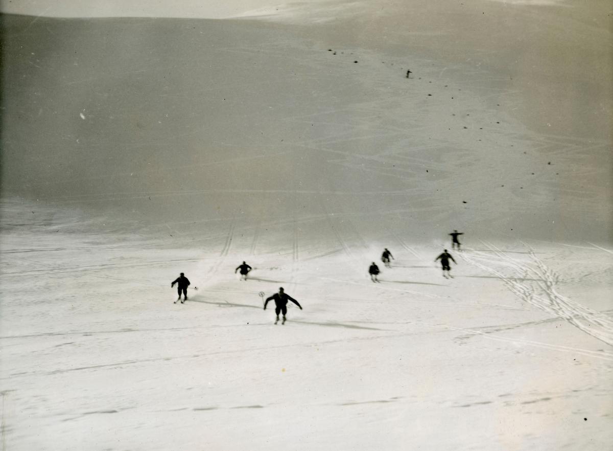 Norwegian athletes enjoying down hill