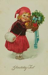 Julekort. Jule-og nyttårshilsen. Pike med muffe og gavekurv.
