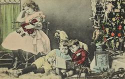 Julekort. Jule- og nyttårshilen. En pike og to gutter med ju