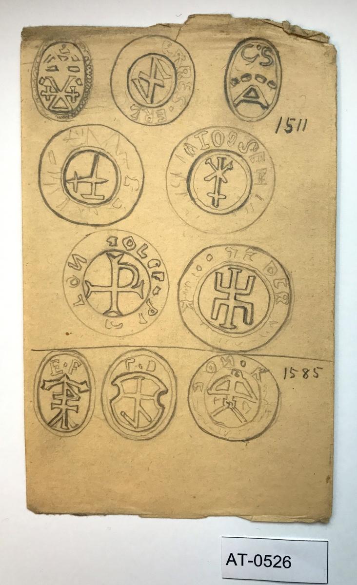 Studie av segl (signet-avtrykk) med bumerker fra 1500- og 1600 talet [Tegning]
