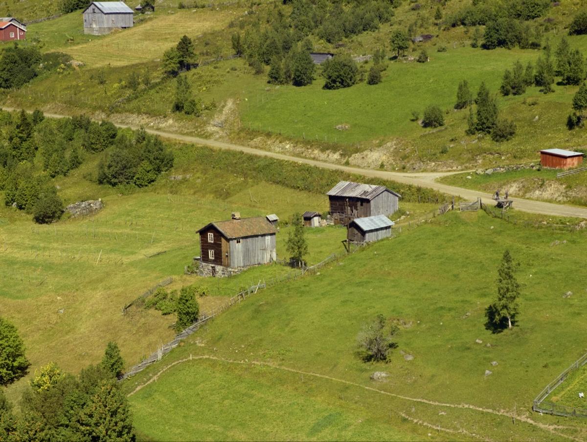 Østre Gausdal. De små gamle husene er Liomstugua (Liumstuggua). Småbruket Berget skimtes helt til venstre. Småbruk. Litt dyrka mark, mye utmark.