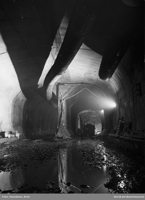 Oslotunnelen : overgang fra dobbeltsporet til to enkeltsporede tunneler vest for Frogner stasjon, sett østover under Erling Skjalgssonsgate