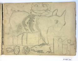 Kjærring som vasker klær, studie av dyr og barn [Tegning]