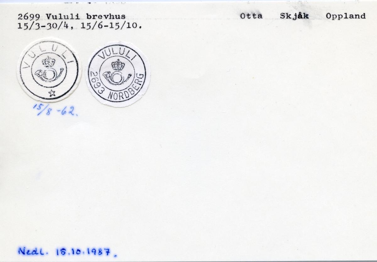 Stempelkatalog  2699 Vululi, Skjåk kommune, Oppland