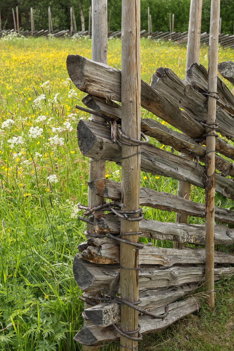 Skigard ved blomstereng. Fra Dølmotunet i Tolga.