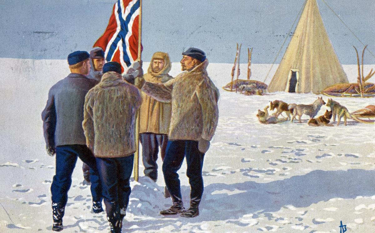 Tegnet postkort av Roald Amundsen på Sydpolen.