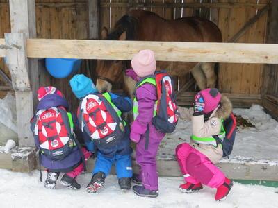 Barn og hest i Kurantgården