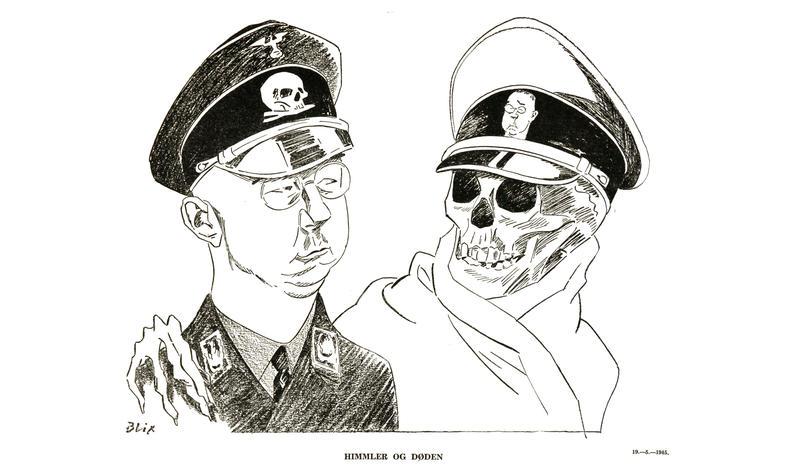 Illustrasjon av Ragvald Blix, kallt «Himmler og døden» (mai 1945)