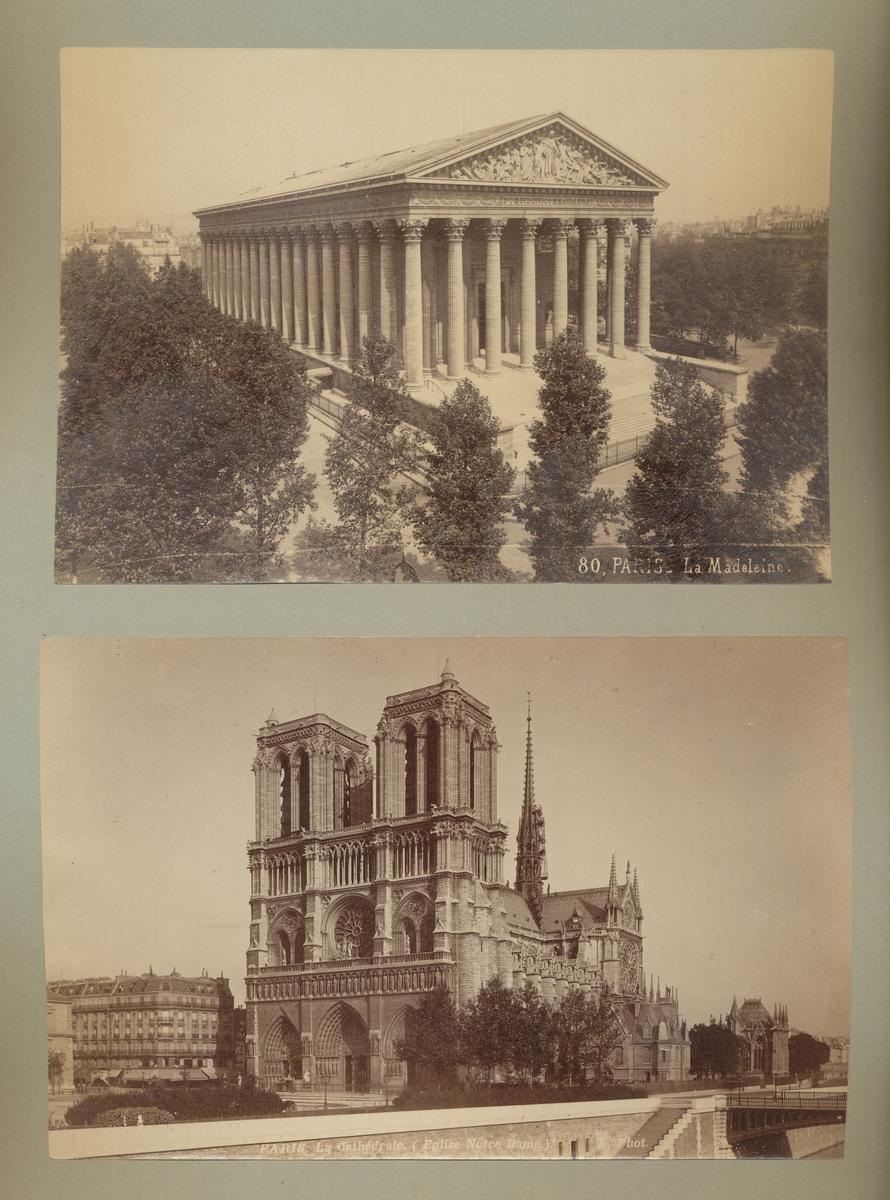 Postkort x2: La Madeleine, Paris / Notre Dame-kirken, Paris