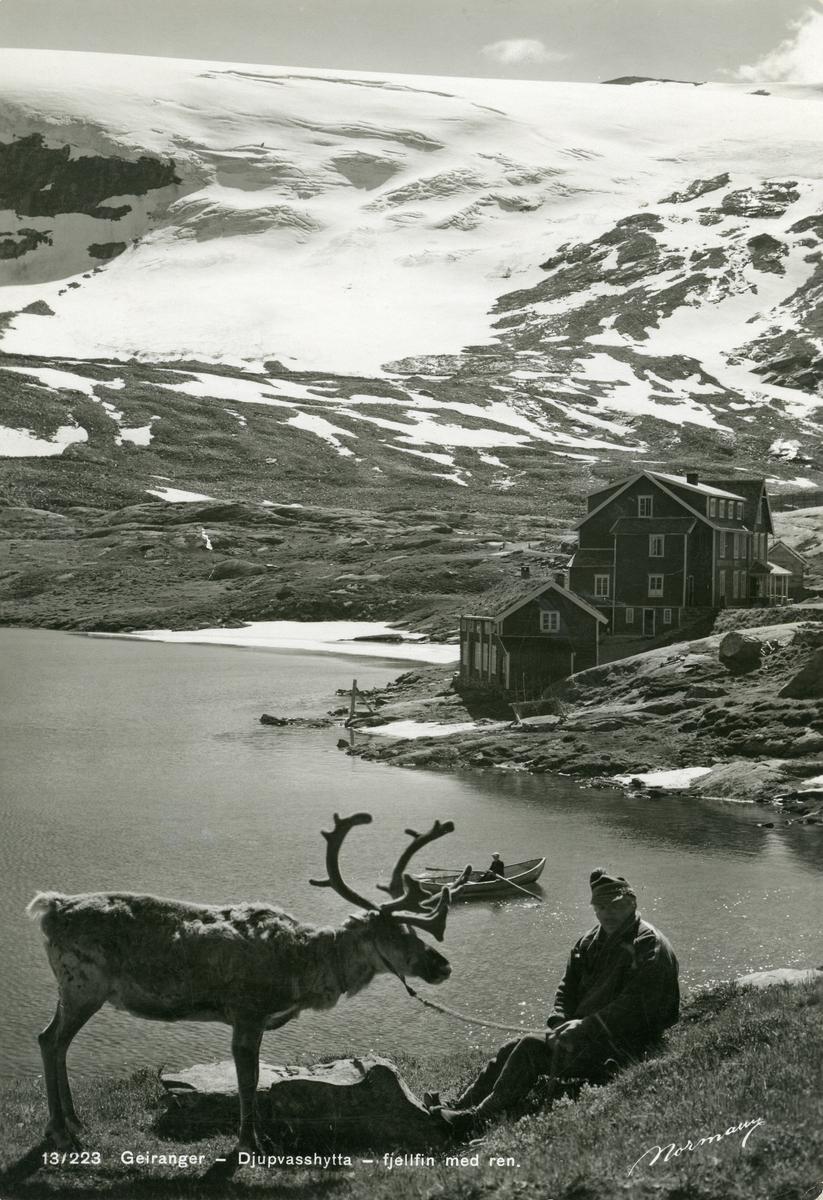 Postkort fra Djupvasshytta, Geiranger. Kortet er sendt 27.2.1951.