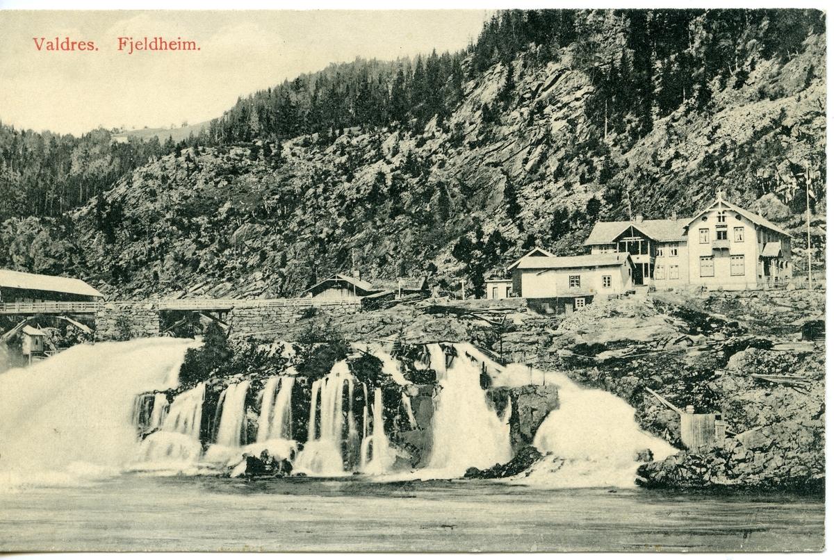 Postkort med motiv fra Fjeldheim Hotell ved Storebrufossen i Bagn, Sør-Aurdal