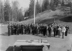 Løkken Musikkorps ved direktørboligen på Løkken.