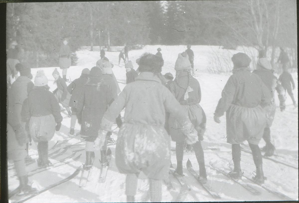 Gutter og jenter fra Brusetkollen friluftsskole på ski.