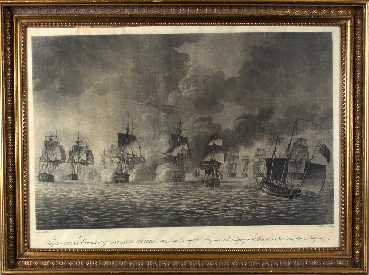 Fregatten FREYA kommandert av kaptein Krabbe i kamp med 4 engelske fregatten ved inngangen til kanalen i Nordsjøen den 25. july 1800.