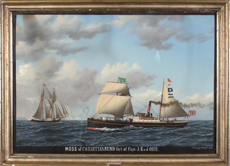 Skipsportrett av DS MOSS med seilføring under fart med norsk unionsflagg akter.