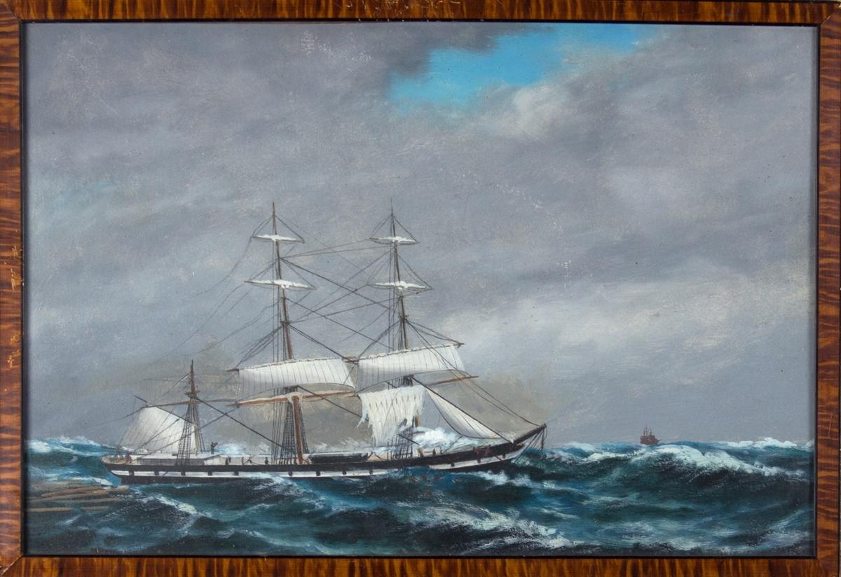 Fullrigger OCEAN i havsnød med mesanmasten knekket og seilene flerret. Lasten og mannskap har falt på sjøen.