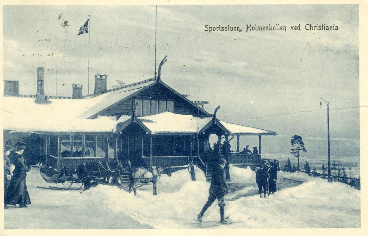 Postkort med motiv av Holmenkollen restaurant. Kortet er Sendt 29.12.1911