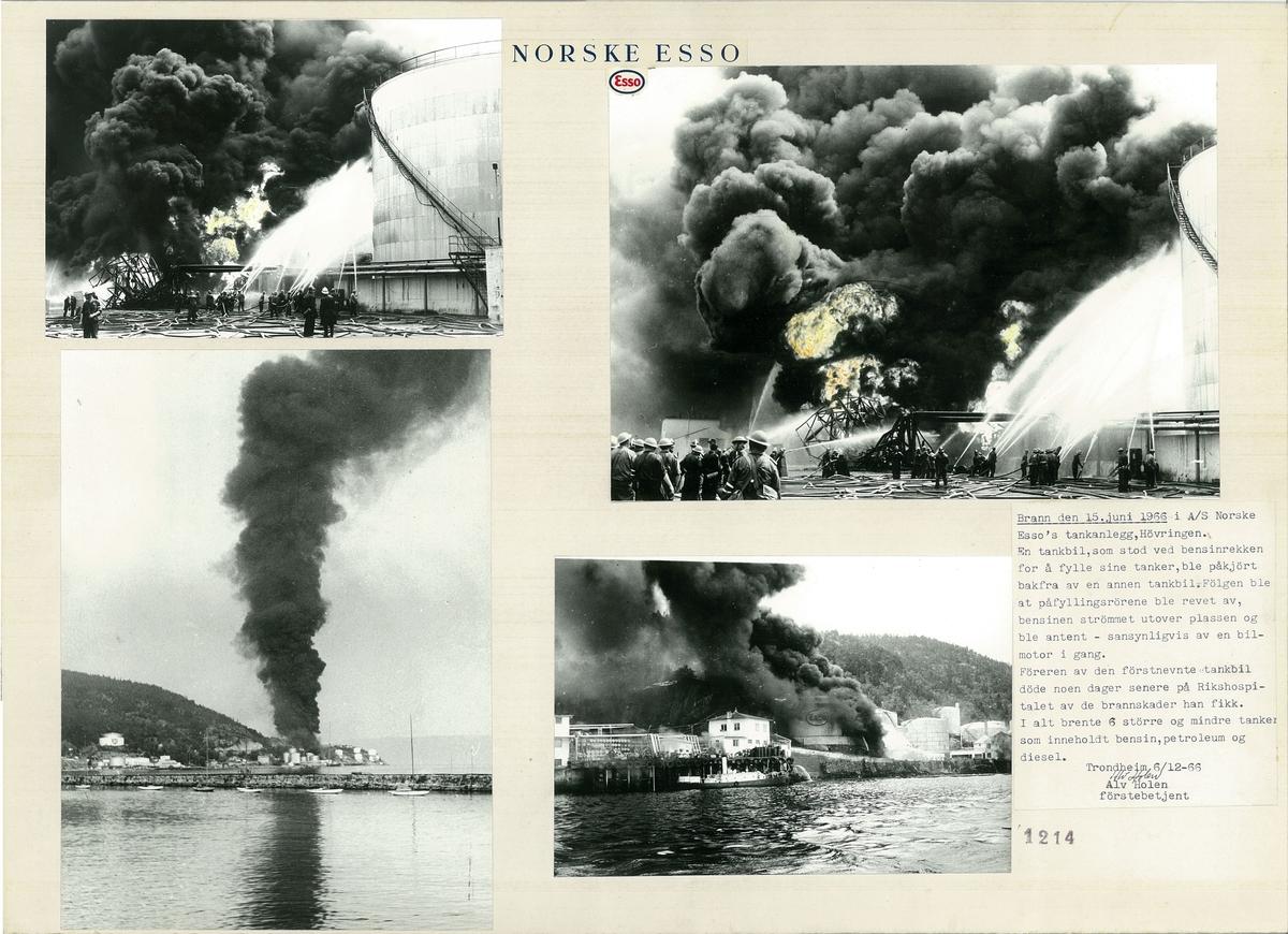 Fire foto som viser brannen i A/S Norske Essos tankanlegg, Høvringen i 1966.