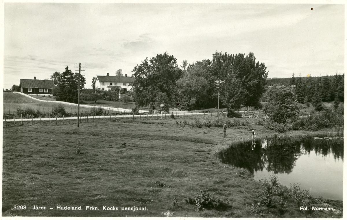 Postkort med motiv av Frk. Kocks pensjonat, Jaren, Hadeland. Utsikt over Jarenvannet