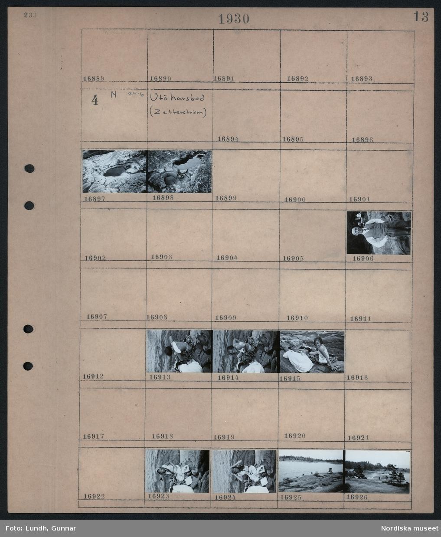 Motiv: Utö havsbad (Zetterström); Klipoor med vattensamlingar, porträtt man, två flickor i badkläder, landskapsvy med klippor och hav med badande människor.