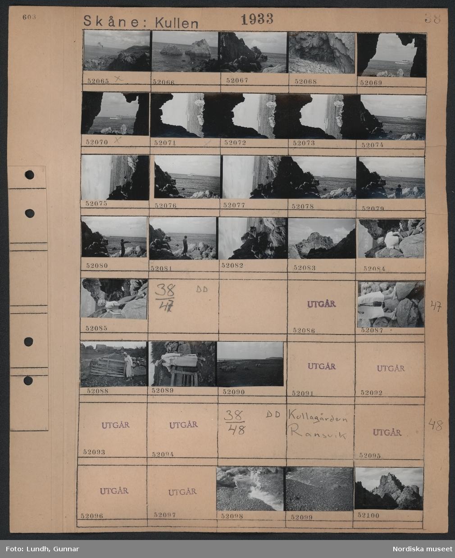 Motiv: Skåne, Kullen, (ingen anteckning) ; Landskapsvy med klippor - hav och fartyg, en kvinna står vid klippor vid havet,