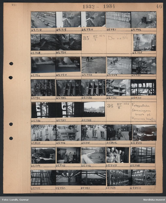 """Motiv: K.F:s Centrallager under byggnad; Vy över järnvägsområde med järnvägsvagnar, en man klipper armeringsjärn, KF.  Motiv: K.F:s Centrallager under byggnad; En byggarbetsplats, en industriskorsten, en man arbetar med gjutning, män på byggnadsställningar, KF.  Motiv: Fotografiska föreningens besök på Konsums lampfabrik; Gatuvy med fotgängare och skylt på fasad """"K.E. Lönngren Speceri- & Matvaruaffär"""", en grupp män står vid ett gathörn, en kvinna köper blommor av en pojke, en kvinna och tre män står i ett kontor, landskapsvy med väg och buss, en grupp män, glödlampor hänger på rad i ett rum med stora fönster."""