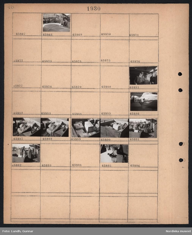 """Motiv: """"Kungl. Post""""; Två män vid en parkerad bil, porträtt av tre män i uniform, porträtt av man i uniform, paket på ett lasbilsflak lastas av vid en lastkaj."""