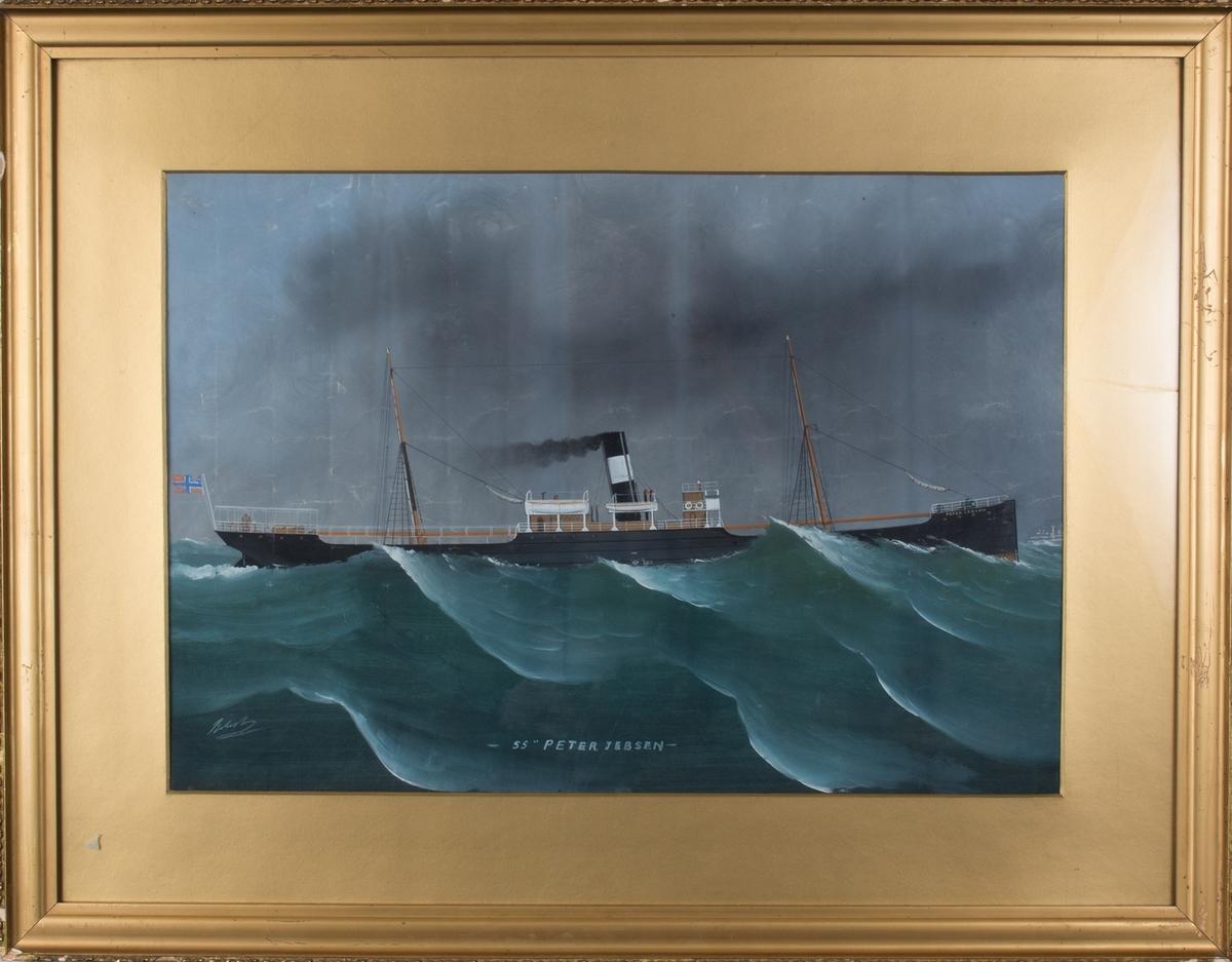 Dampskipet PETER JEBSEN på opprørt hav. Unionsflagg i skipets akter.