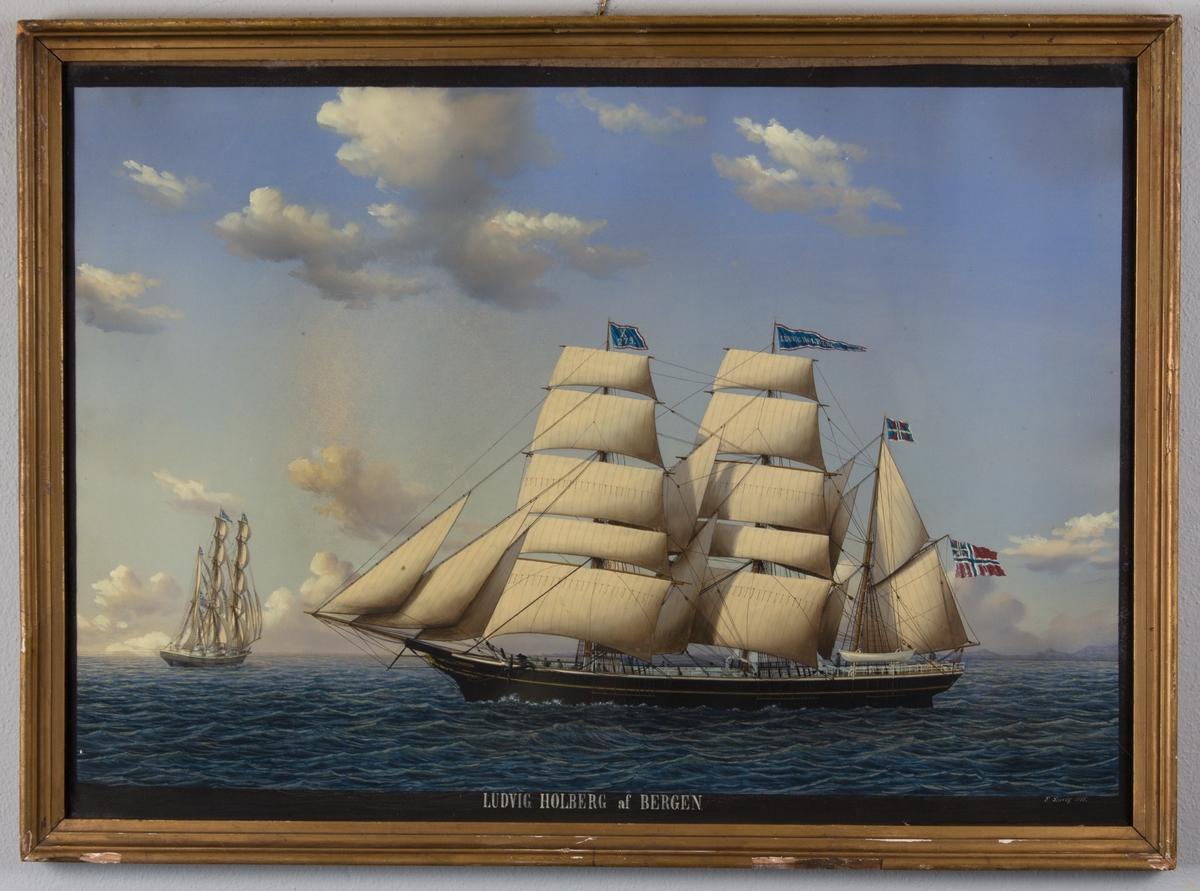 Skipsportrett av bark LUDVIG HOLBERG under fulle seil med unionsflagg i mesanmasten. Samme skip sees seilende i forkant av hovedmotiv.