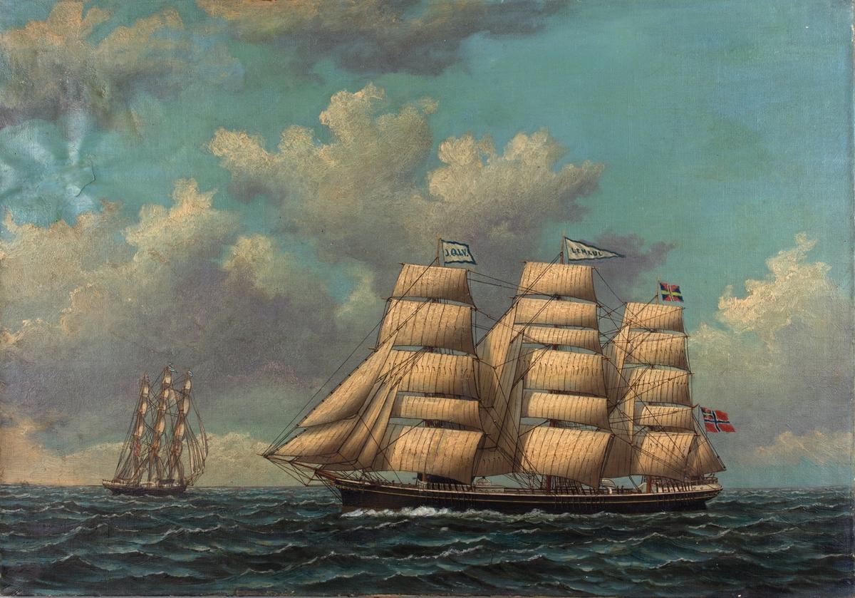 Skipsportrett av fullriggeren HERMAN LEHMKUHL sett fra siden og aktenfra i motivet. Skipet ses med doble bramseil på stormasten, vimpel med navnet LEMKUL i stormasten og unionsflagg i mesanmasten.