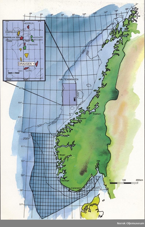haltenbanken kart Kart som viser Draugen feltet og andre olje  og gassfelt på