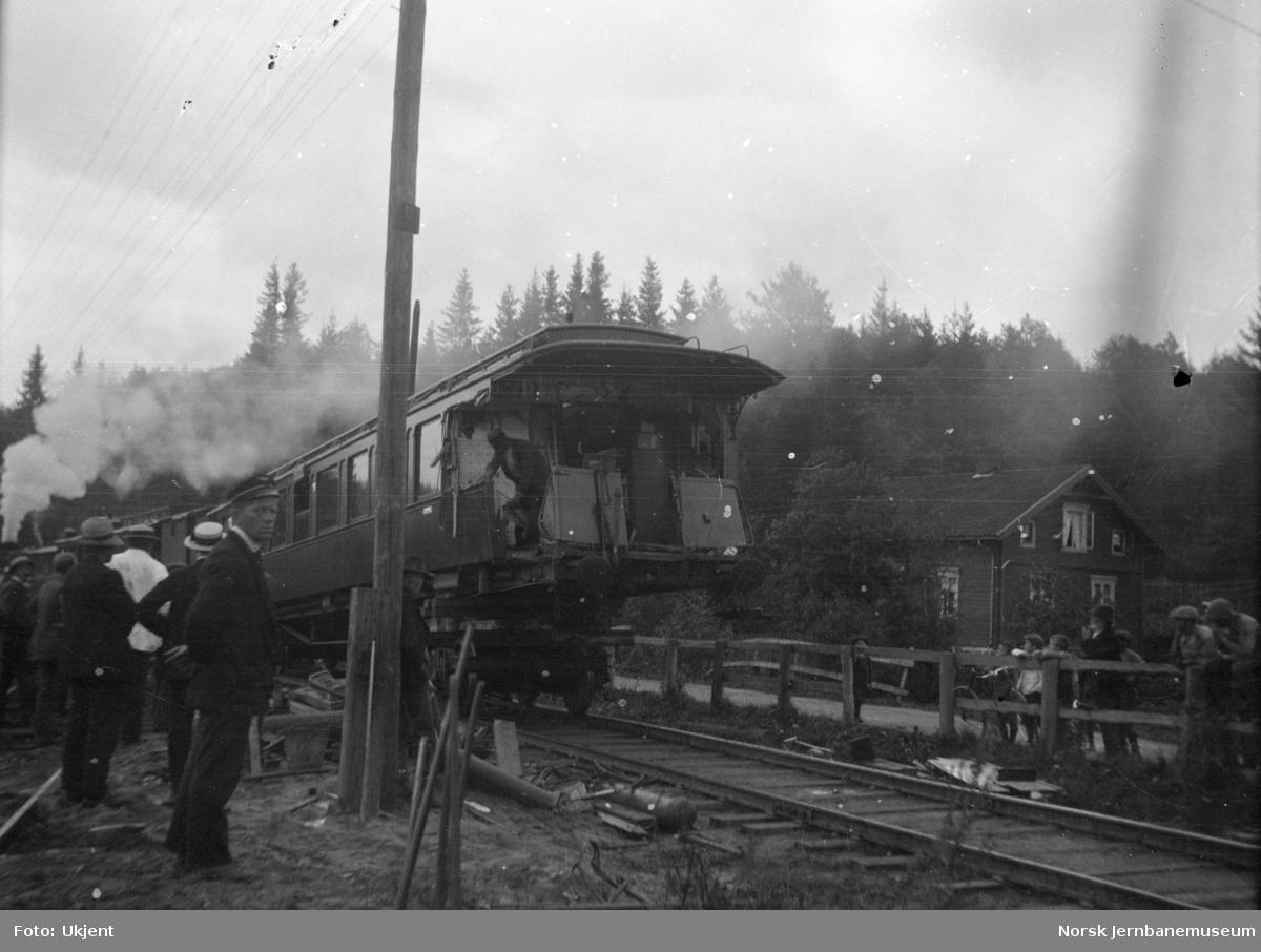Kollisjon mellom toget fra Stockholm og et arbeidstog ved Fetsund bru