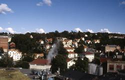 Bebyggelse i Kvarnbyn, Mölndal, sedd från pappersbrukets Pap