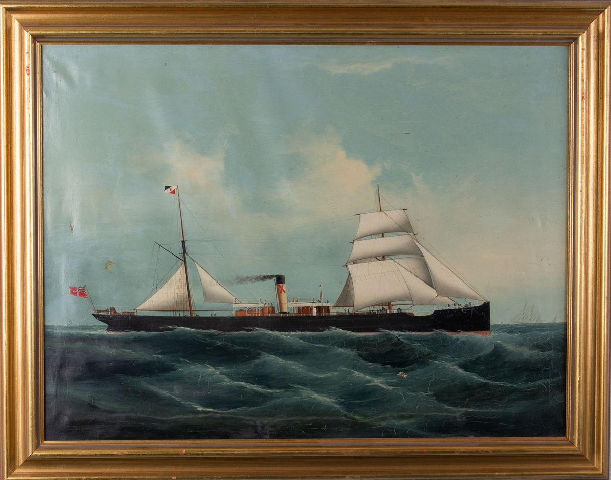 Skipsportrett av DS HEBE under fart med seilføring. Fører unionsflagg akter og rederiflagg i mast.
