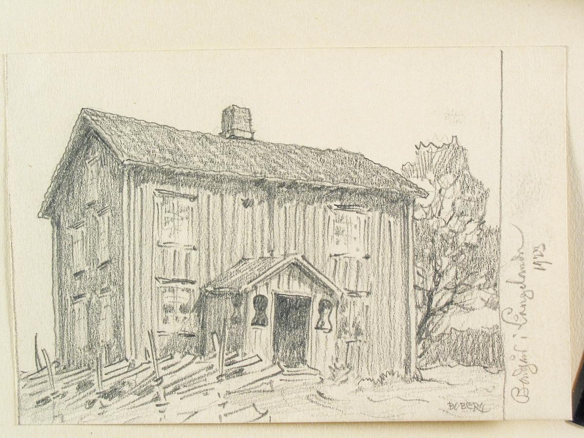 Dalsland, Långelanda. Boningshus. Teckning av Ferdinand Boberg.